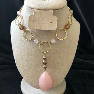 Avon HS Gold Tone And Pink Necklace